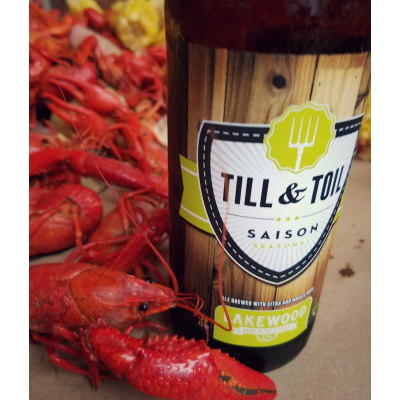 Crawfish and Lakewood Brewing Till & Toil Saison